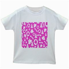 Pink Christmas Background Kids White T-Shirts