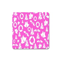 Pink Christmas Background Square Magnet