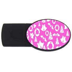 Pink Christmas Background USB Flash Drive Oval (1 GB)