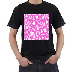 Pink Christmas Background Men s T-Shirt (Black) (Two Sided)