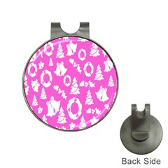 Pink Christmas Background Hat Clips with Golf Markers