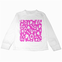 Pink Christmas Background Kids Long Sleeve T-Shirts