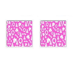 Pink Christmas Background Cufflinks (Square)