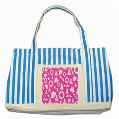 Pink Christmas Background Striped Blue Tote Bag