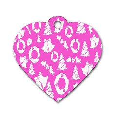 Pink Christmas Background Dog Tag Heart (One Side)