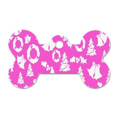 Pink Christmas Background Dog Tag Bone (Two Sides)