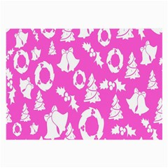 Pink Christmas Background Large Glasses Cloth