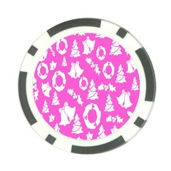 Pink Christmas Background Poker Chip Card Guard