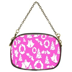 Pink Christmas Background Chain Purses (One Side)