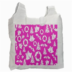 Pink Christmas Background Recycle Bag (Two Side)