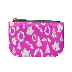 Pink Christmas Background Mini Coin Purses