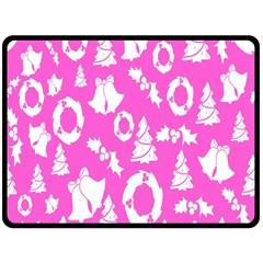 Pink Christmas Background Fleece Blanket (Large)