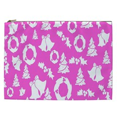 Pink Christmas Background Cosmetic Bag (XXL)