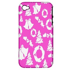 Pink Christmas Background Apple Iphone 4/4s Hardshell Case (pc+silicone)