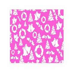 Pink Christmas Background Small Satin Scarf (Square)