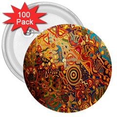 Ethnic Pattern 3  Buttons (100 pack)