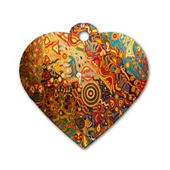Ethnic Pattern Dog Tag Heart (One Side)