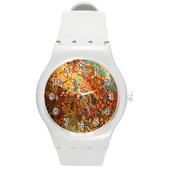 Ethnic Pattern Round Plastic Sport Watch (M)