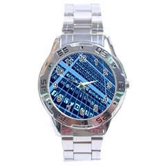 Mobile Phone Smartphone App Stainless Steel Analogue Watch