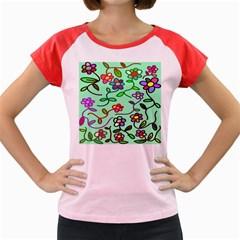 Flowers Floral Doodle Plants Women s Cap Sleeve T-Shirt