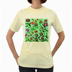 Flowers Floral Doodle Plants Women s Yellow T-Shirt