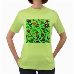 Flowers Floral Doodle Plants Women s Green T-Shirt