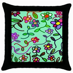 Flowers Floral Doodle Plants Throw Pillow Case (Black)