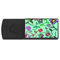 Flowers Floral Doodle Plants USB Flash Drive Rectangular (2 GB)
