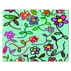 Flowers Floral Doodle Plants Rectangular Jigsaw Puzzl