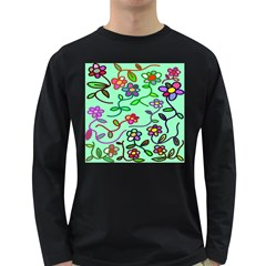 Flowers Floral Doodle Plants Long Sleeve Dark T-Shirts