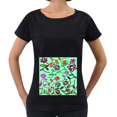 Flowers Floral Doodle Plants Women s Loose-Fit T-Shirt (Black)