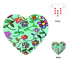 Flowers Floral Doodle Plants Playing Cards (Heart)