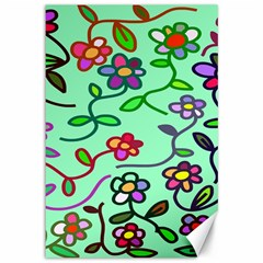 Flowers Floral Doodle Plants Canvas 12  x 18