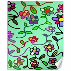 Flowers Floral Doodle Plants Canvas 16  x 20