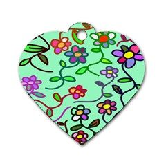 Flowers Floral Doodle Plants Dog Tag Heart (One Side)