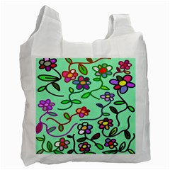 Flowers Floral Doodle Plants Recycle Bag (Two Side)