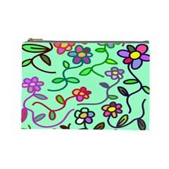 Flowers Floral Doodle Plants Cosmetic Bag (Large)