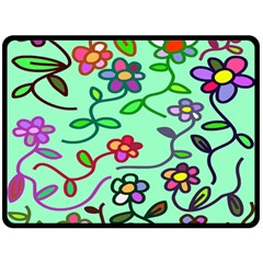 Flowers Floral Doodle Plants Fleece Blanket (Large)