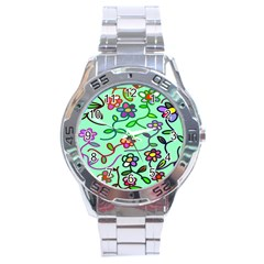 Flowers Floral Doodle Plants Stainless Steel Analogue Watch
