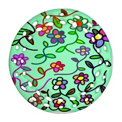 Flowers Floral Doodle Plants Round Filigree Ornament (Two Sides)