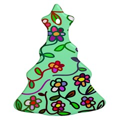 Flowers Floral Doodle Plants Christmas Tree Ornament (two Sides)
