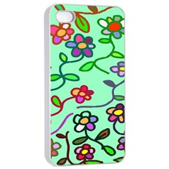 Flowers Floral Doodle Plants Apple iPhone 4/4s Seamless Case (White)