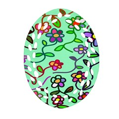 Flowers Floral Doodle Plants Oval Filigree Ornament (Two Sides)
