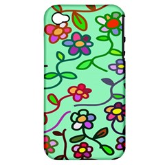 Flowers Floral Doodle Plants Apple Iphone 4/4s Hardshell Case (pc+silicone)