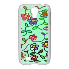 Flowers Floral Doodle Plants Samsung Galaxy S4 I9500/ I9505 Case (white)