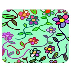 Flowers Floral Doodle Plants Double Sided Flano Blanket (Medium)