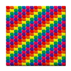 Rainbow 3d Cubes Red Orange Tile Coasters
