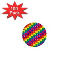 Rainbow 3d Cubes Red Orange 1  Mini Buttons (100 pack)