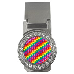 Rainbow 3d Cubes Red Orange Money Clips (cz)