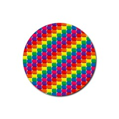 Rainbow 3d Cubes Red Orange Rubber Round Coaster (4 pack)